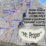 croquis escalada Mr proper, Pico susarón, Puebla de Lillo, León
