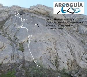 Croquis escalada Balneario de Nocedo (León)