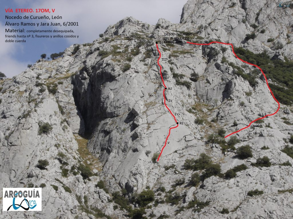 Croquis escalada via eterea , Hoces de Nocedo, León