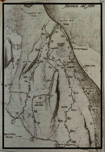 """Croquis Puerta de Atras, Neveron del Albo. foto del libro """"Escalada en Roca en los Picos de Europa"""""""