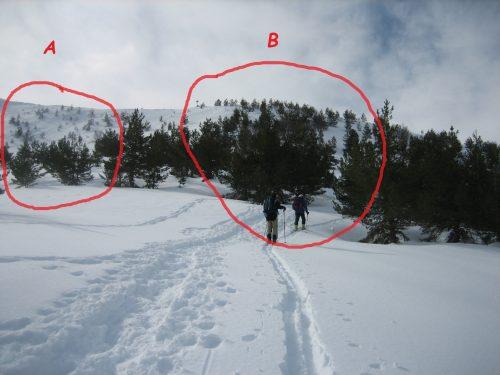 elección de recorrido con equis de montaña